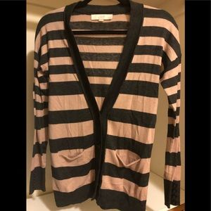LOFT SP lightweight gray/mauve stripe cardigan